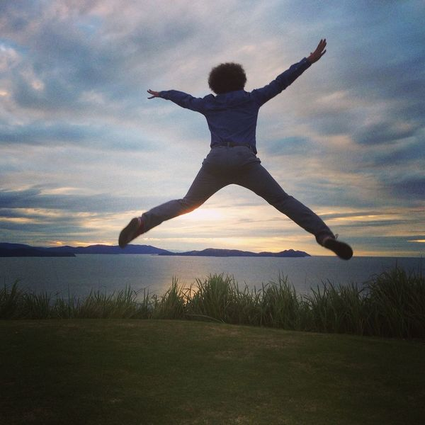 Jumping for the sunset at Hamilton Island Taking Photos Jumping Landscape
