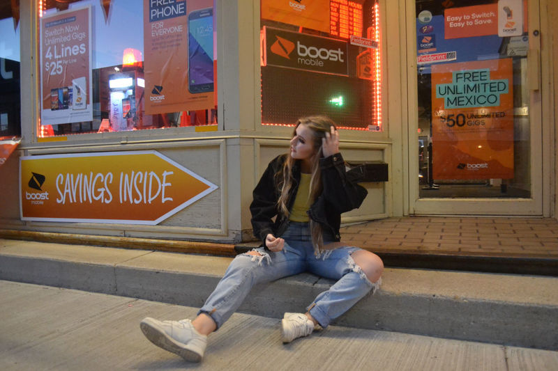 boost City City Sidewalks Convenient Store Girl Jean Jacket Long Hair Ripped Jeans Sneaker White Sneakers First Eyeem Photo