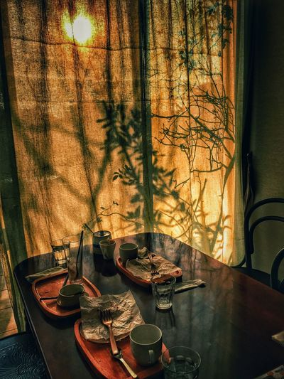 Iphone6s IPhoneography Sunset Sweets Curtain Coffee Time Finished Cafe EyeEmJapan Mylife Eyeemphotography Orange Trees Shadow