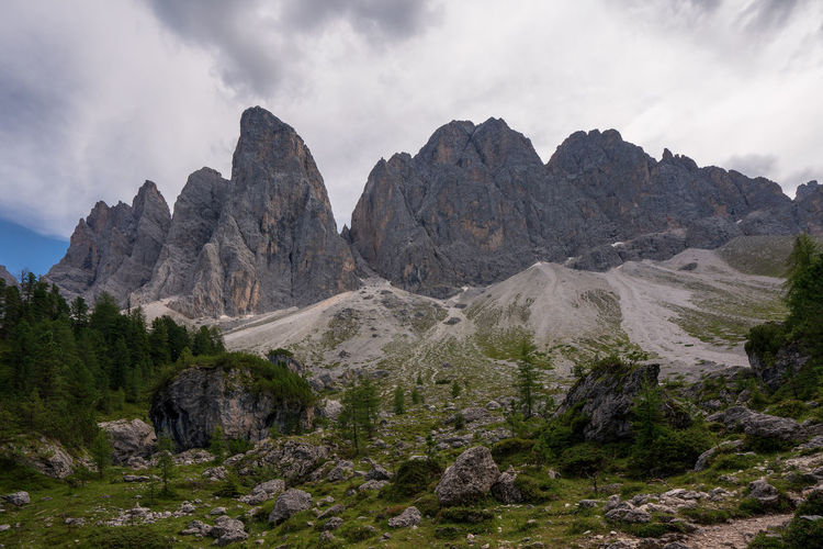 Panoramic view of rocky mountains against sky