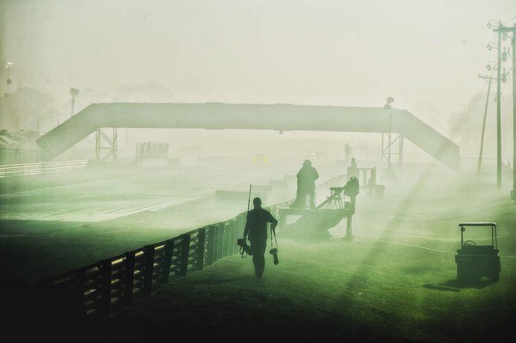 Smokey practice session at Sebring Race Smoke Photographer Sebring12Hours Misty Morning Fog Grass