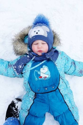 Baby Childhood Warm Clothing Playing Snow Cold Temperature Front View first eyeem photo