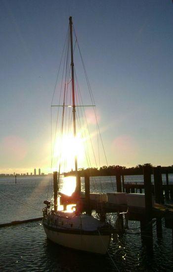 sailboat in dawn's light Sailboat Biscayne Bay Dawn Twillight Florida Life Morninglight Morningsun Safehaven Marina Glitch