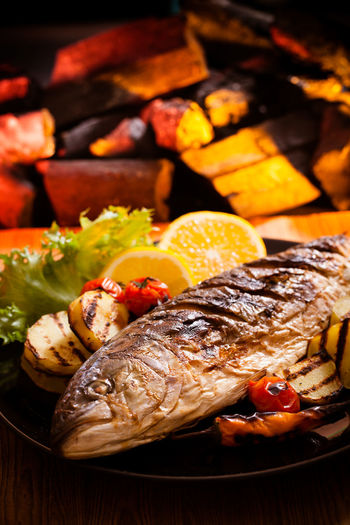 Close-up of seafood on barbecue