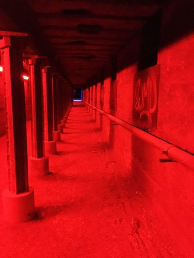 Red Architecture The Way Forward Diminishing Perspective Direction Indoors  Built Structure Building Lighting Equipment Night