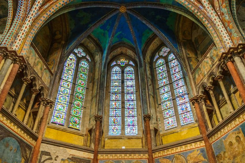 Windows Mosaic Picture Painting Church Assisi Italy Glass Golden Decoration Religion Window Architecture Place Of Worship Spirituality Built Structure History Arch Low Angle View No People Indoors