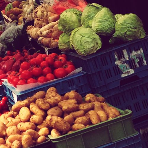 Market Fresh Vegetables Cabbage Potatoes Tomatoes Street Market Colours Freshness Market Stall Street Photography The Street Photographer - 2016 EyeEm Awards Shopping ♡ Fresh Fruits Market Stands Healthy Food Colors Of Nature Stall