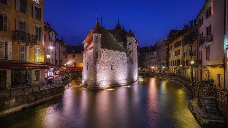 Town France Long Exposure Blue Hour Prison Annecy, France Architecture Built Structure Building Exterior City Building Water Night Illuminated Sky River Dusk History Travel Destinations Nature The Past Reflection Residential District No People