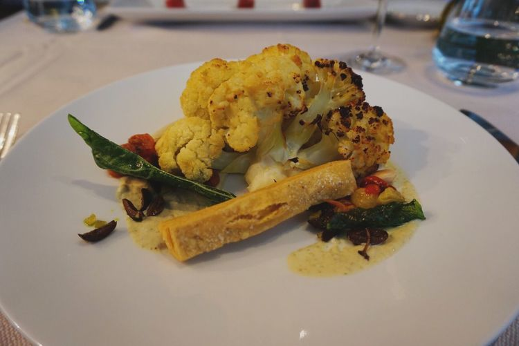 Close-Up Of Serving Cauliflower Food In Plate