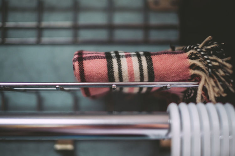 Blankets Close-up Detail Focus On Foreground Plaid Rod Selective Focus Still Life Store
