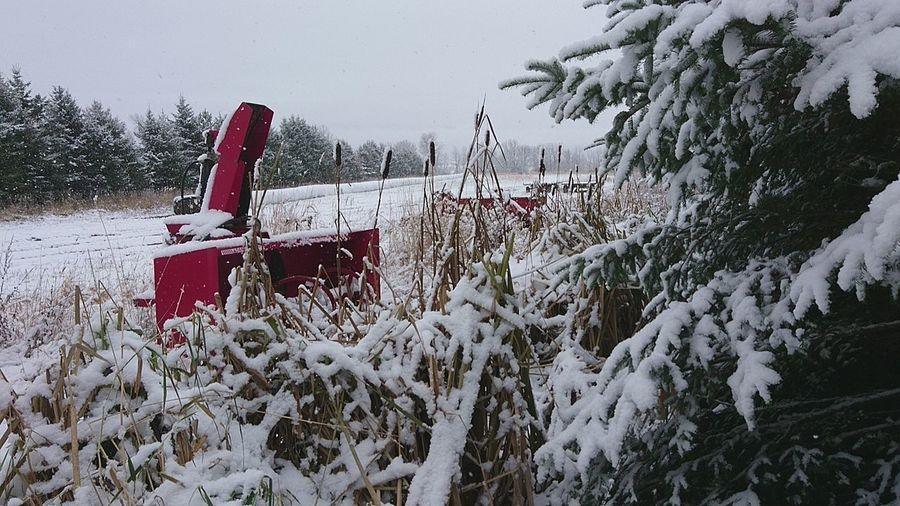 Nature Winter Snow ❄ Farmer's Life Farm Equipment Outdoors Tree Close-up Color Splash No People