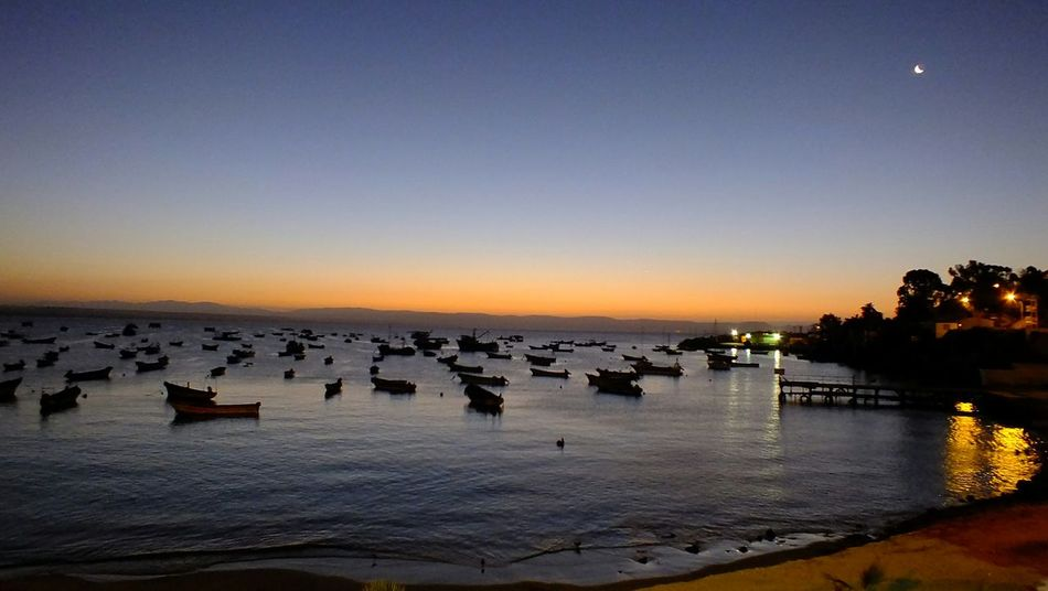 Sunset Sunset Ocean View Watching Boats Fishing Boat