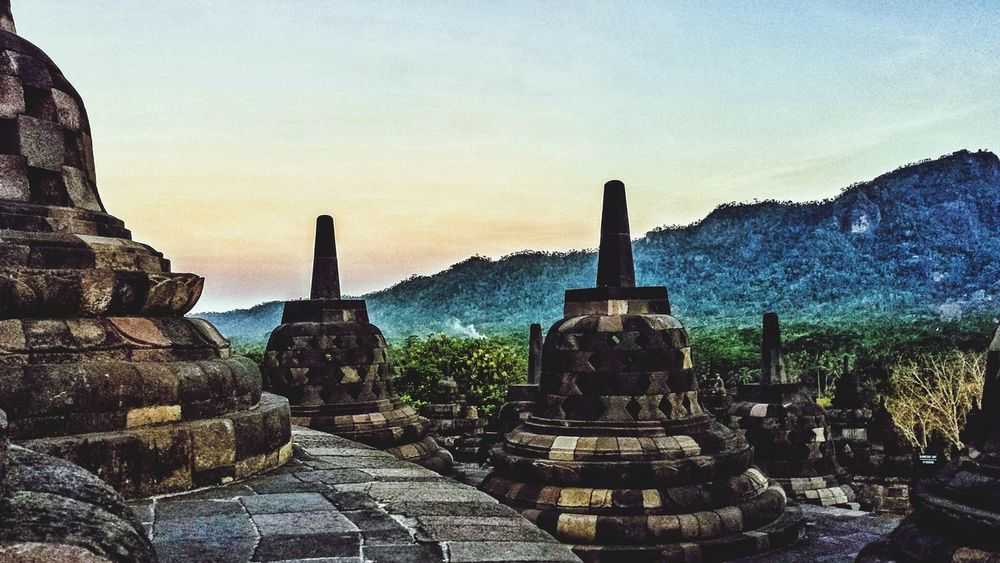 INDONESIA Borobudur Clouds ASIA Southeast Asia Outdoors Hillside Sunshine Ancient History Buddhism Buddhist Temple Jungle Sunrise Morning