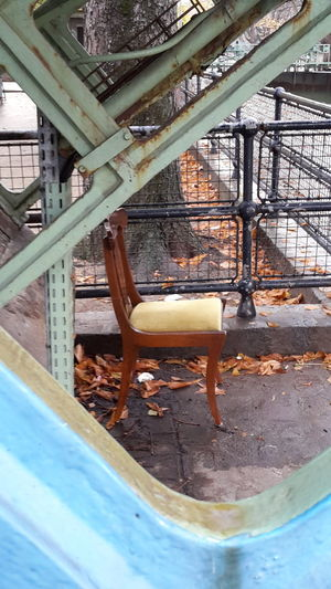 Chair Outside Underbridge Paris, France  No People Canal Saint-Martin