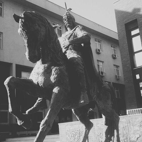 Sculpture Chinggis Khaan Horse Monochrome