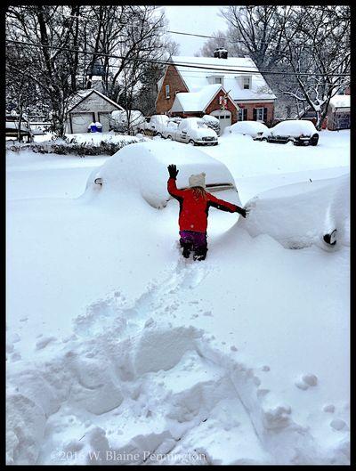 Jessie exploring Epic Snow Blizzard 2016 Snowzilla