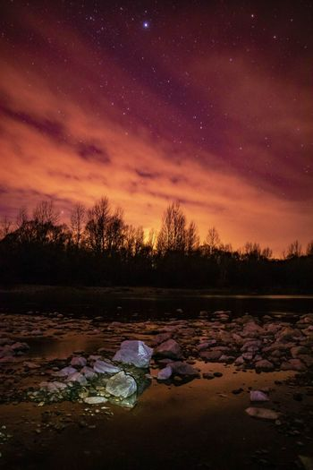 Night sky over river Drava. River EyeEmNewHere Nature Photography Nature Sky Stars Long Exposure Galaxy Milky Way Multi Colored