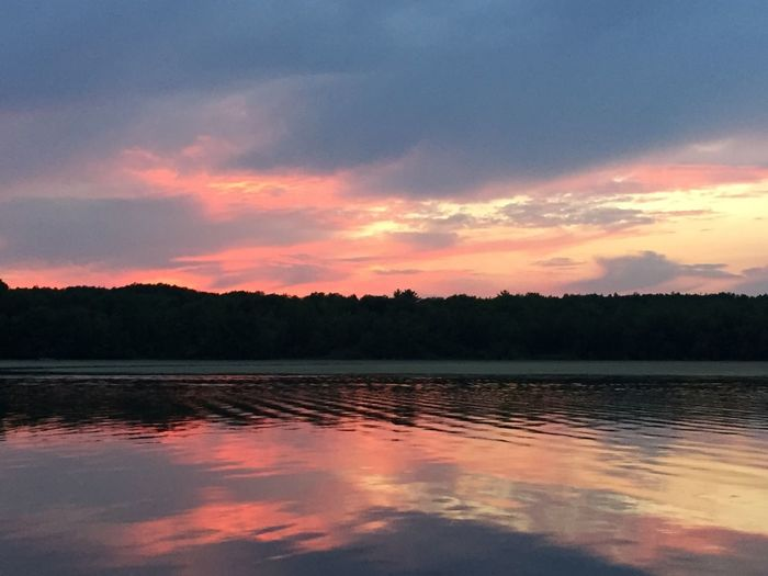 Sunset, river
