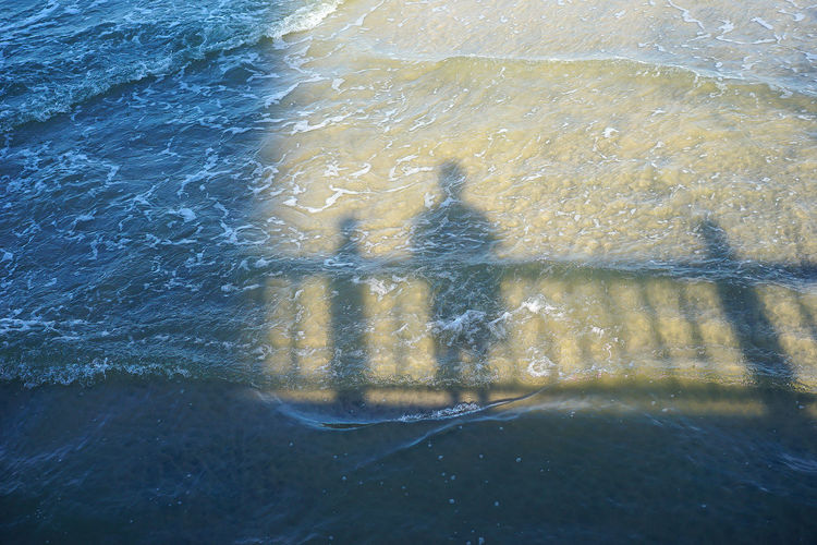Huahin Lonely Reflection Thailand Beach Clear Bottom Crest Emo Light And Shadow Nature Railings Reflections In The Water Salt Water Sand Sea Shadow Water Waterfront Wave Wave Pattern Waves Crashing Woonhong