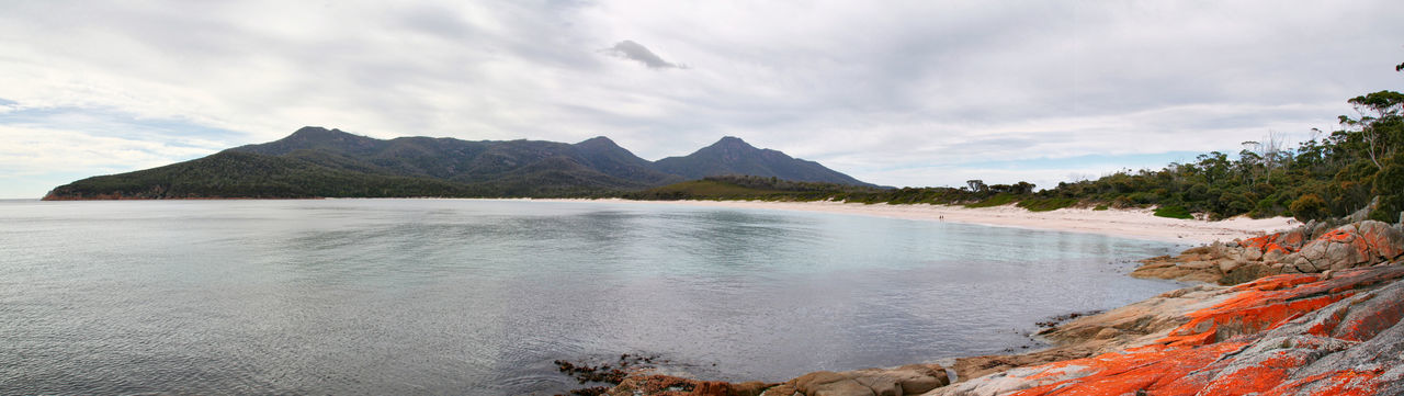 Wineglass Bay Tasmania Australia Landscape Cloud - Sky Mountain No People Beauty In Nature Outdoors Scenics Water Horizon Over Water Park Waterfront Australian Landscape Beauty In Nature Sea Coastline Panoramic Sea And Sky Travel Tourism Travel Destinations Beach Vacations