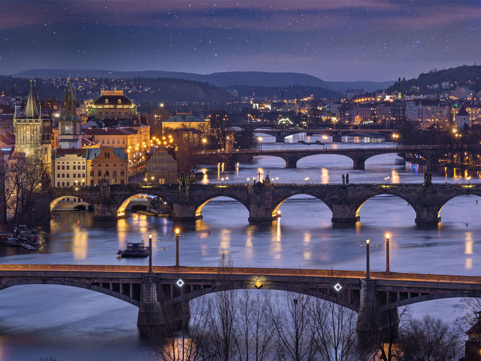 Prague I Winter, 2017 Bridges Olympus Prague Prague Czech Republic Theory4 Travel Europe Night River