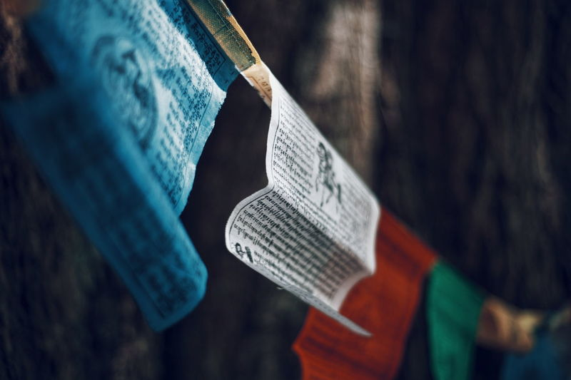 Close-up of prayer flags
