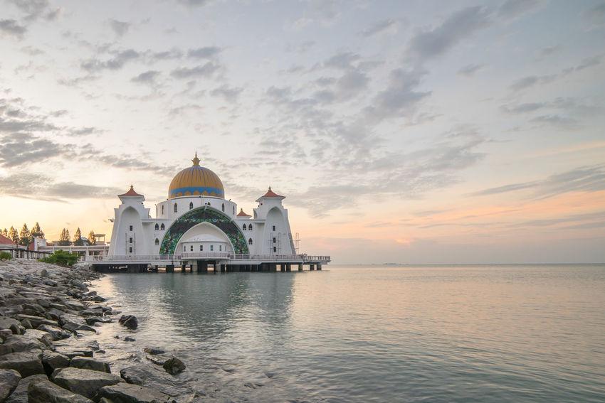 Malacca Straits Floating Mosque / Masjid Selat Melaka at sunrise Beauty In Nature Cloud Cloud - Sky Cloudy Dawn Eid Eid Mubarak Idyllic Mosque Muslim Nature No People Outdoors Ramadan  Ramadhan Scenics Sky Tranquil Scene Tranquility Travel Destinations Water Worship