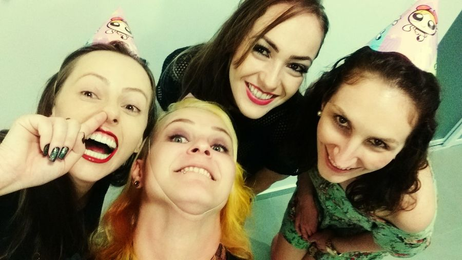 Friendship Selfie Portrait Protruding Young Women Smiling Togetherness Cheerful Photography Themes Happiness