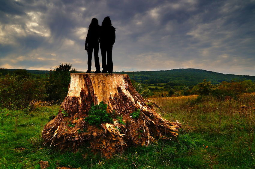Woman standing on a giant dead tree, stormy weather, late afternoon Afternoon Cloudy Dark Clouds Silhouette Stormy Weather Tree Trunk Twilight Wood Beauty In Nature Cloud - Sky Dawn Day Full Length Grass Landscape Nature Outdoors People Pilis Pilisszántó Sky Stump Trunk Two People Women