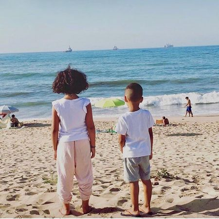 My Babies! Holiday Memories Morocco Mohammedia Water Sea Beach Horizon Over Water Togetherness Leisure Activity Lifestyles Bonding Love Standing Clear Sky Full Length Childhood Shore Vacations Sand Rear View Casual Clothing Girls Friendship Siblings