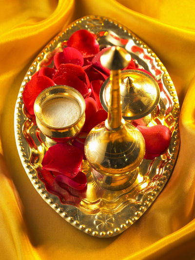 holly water Container Diwali Holly Indian Culture  Rose Petals Spirituality Tradition Believe Deepavali  Gold Colored Golden Tray Holly Water No People Offering Praying Traditional Water