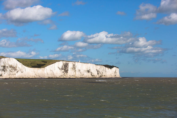 Lighthouse Beauty In Nature Blue Sky Cliff Cloud - Sky Day Horizon Horizon Over Water Land Marine Nature No People Outdoors Rock Scenery Scenics - Nature Sea Sky South Foreland Lighthouse Tranquil Scene Tranquility Water Waterfront White Cliffs  White Cliffs Of Dover