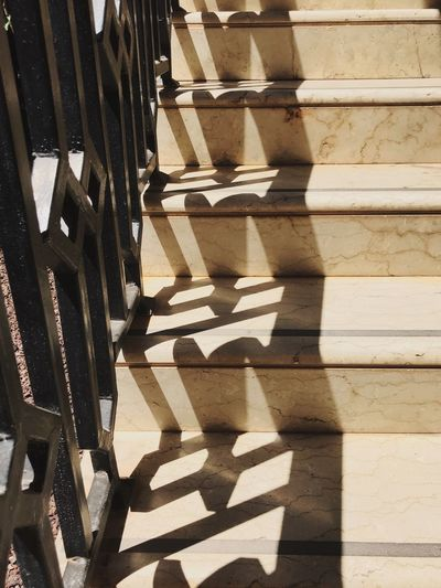 Steps Staircase Stairs Shadow Sunlight Day No People Pattern Railing Staircase Sunny