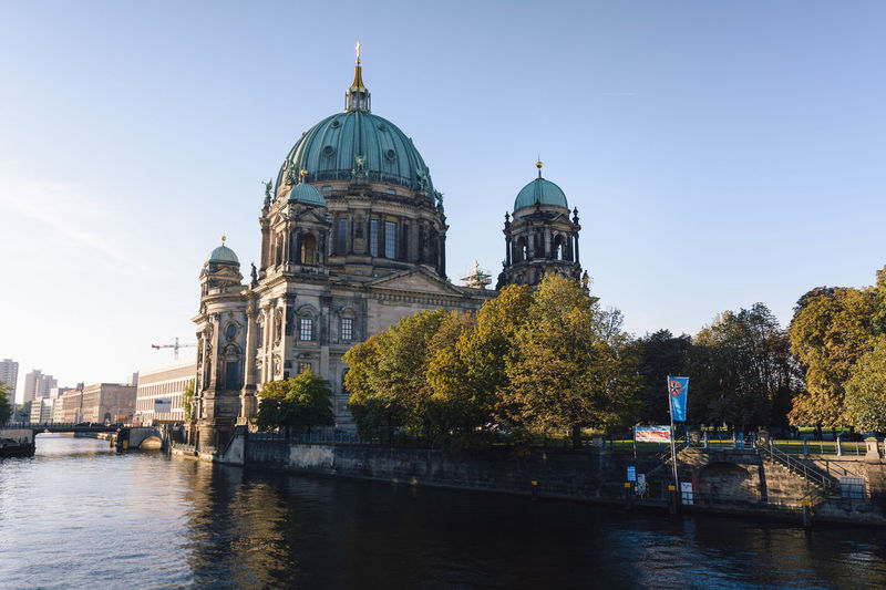 berlin cathedral at sunrise Architecture Architecture Berlin Berlin Cathedral Berliner Dom Building Exterior Built Structure City Daytime Dome Germany Government International Landmark New Day No People Outdoors Place Of Worship Politics And Government Religion Sightseeing Sky Spree River Berlin Sunrise Travel Destinations Water