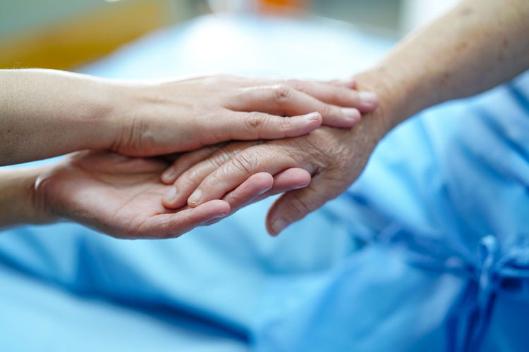 Cropped image of doctor and patient holding hands in hospital