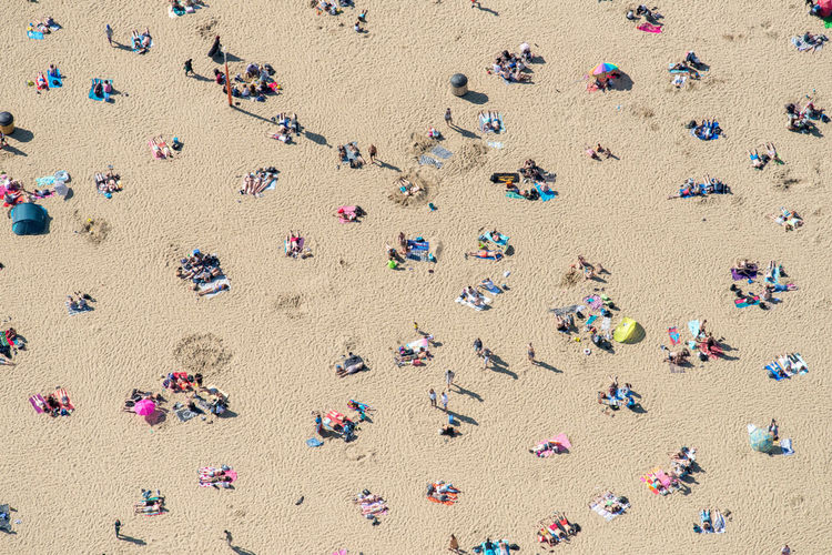 High angle view of people at beach during summer