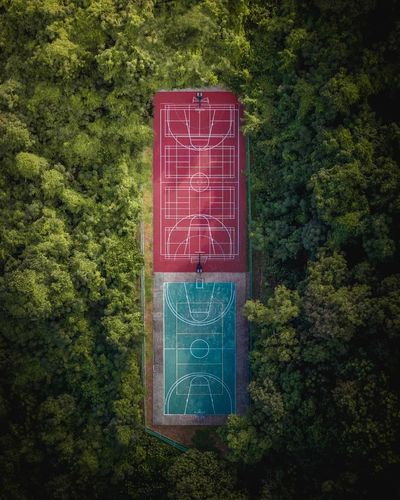 Welcome to the jungle. Daily Drone  Drone Photography Dronephotography Aerial View Birds Eye View HighResolution Futuristic High Resolution Topdown Lookdown City Dronephotography Basketball Basketball Basketball Hoop Basketball Game Basketball Player Basketball Court Symmetricalmonsters Tree Communication Text Close-up Green Color Urban Scene Ivy