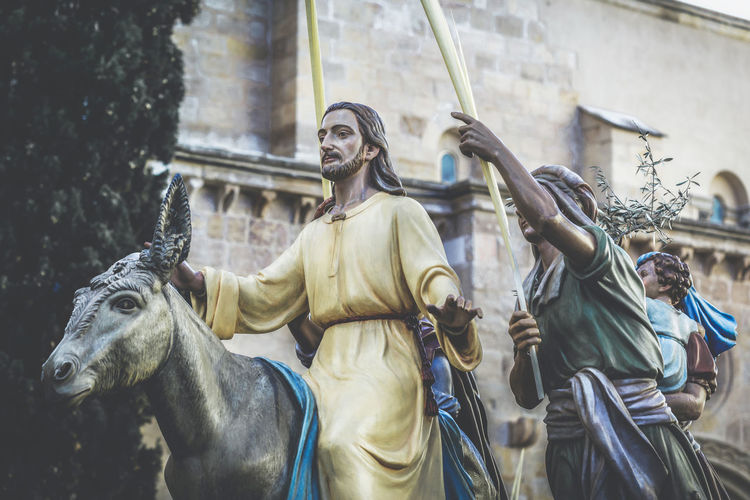 Jesus Christ riding on a donkey on palm sunday (easter week). Typical of Easter, Holy Week in Spain. Holy Week in Zamora, Spain, is the annual commemoration of the Passion of Jesus Christ that takes place during the last week of Lent, the week immediately before Easte Semana Santa Holy Week SPAIN Zamora Procession Easter Lent Religious  Religious Art Religion Catholic People Tradition Traditional Jesus Christ Spirituality Christianity Faith Church Catholicism Symbol Passion Devotees Cross Crucifixion
