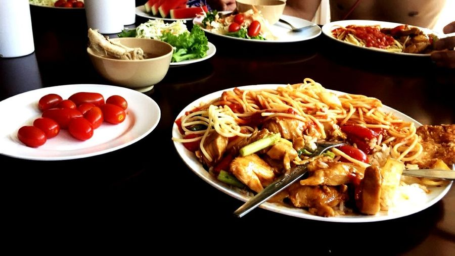 Food Noodles Watermelon Fruit Tomatoes Vegetable Healthy Eating Freshness Plate Meal Freshness Amazing Food Close-up Serving Size No People Food And Drink Yummy
