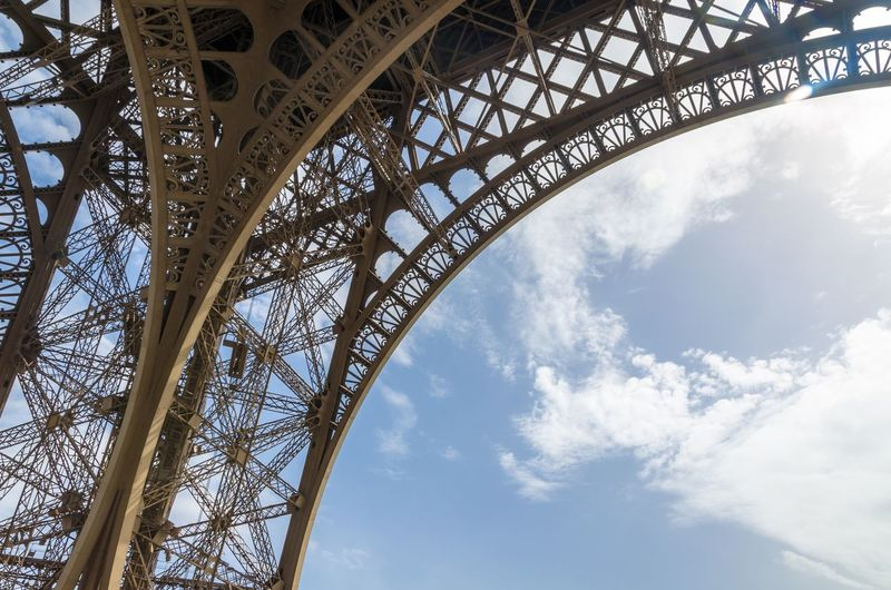 The curved detail of the wrought iron of the eiffel tower, paris