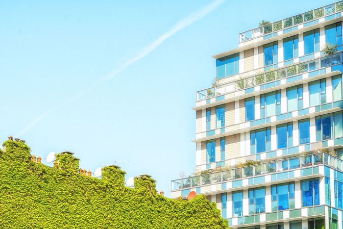 Architecture Building Exterior Built Structure Contrail Day Growth Low Angle View Nature No People Outdoors Sky Tree Vapor Trail