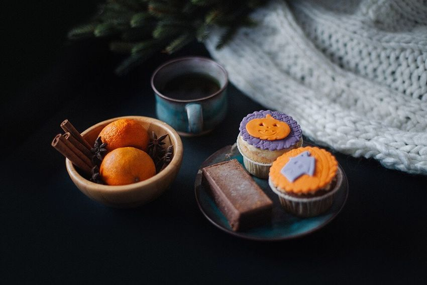 Always Be Cozy Food And Drink Orange - Fruit Healthy Eating Tea - Hot Drink Dried Fruit Sweet Food Ready-to-eat Freshness Drink No People Indoors  Close-up Day Food Tea Tea Time Snuggles Beverage Overhead View Table Halloween Cup Cupcakes Pumpkin