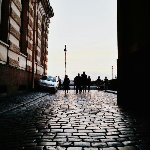 View of footpath along buildings