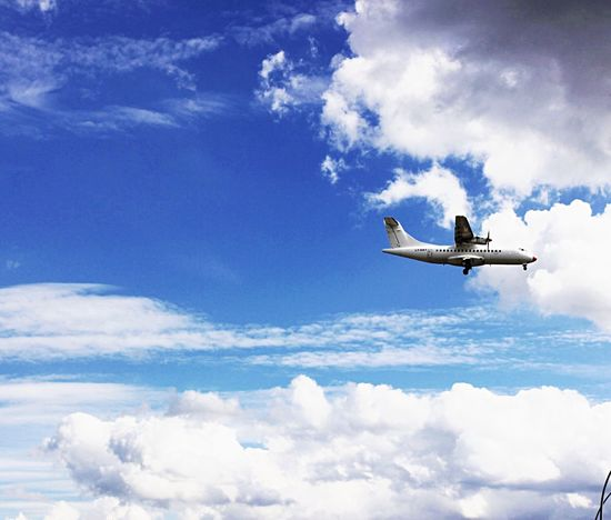 | MidFlight | Fromtoday MayYouAlwaysFlyHigh Canon Cloud - Sky Sky Airplane Flying Low Angle View Blue