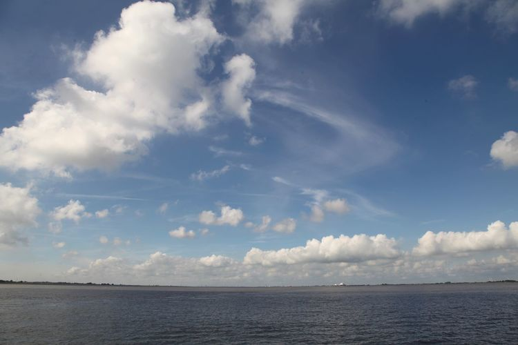 Elbe river against cloudy sky