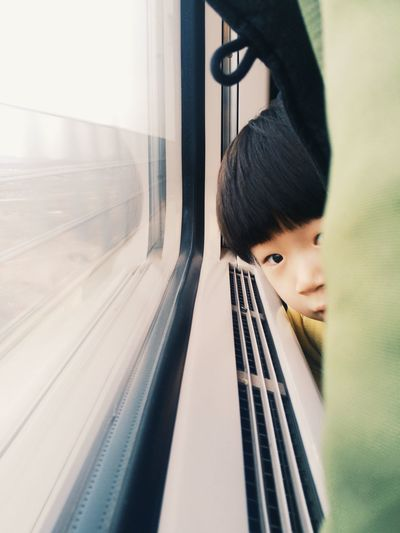 Portrait Of Child Traveling In Train