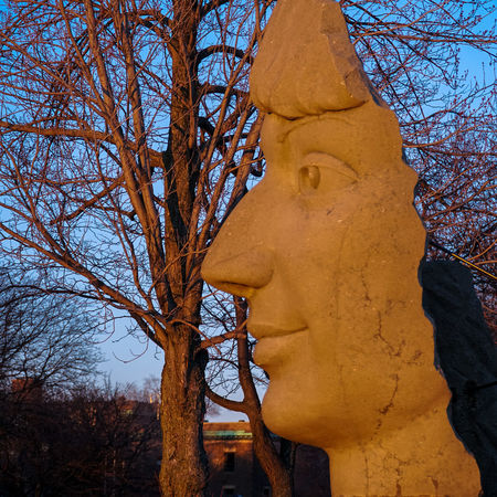 Lachine Lachine Canal Montreal Nature Statue Architecture Bare Tree Branch Canada Canada Coast To Coast Day Dusk Face Growth Human Face Low Angle View Monument Nature No People Outdoors Park Place Of Worship Religion Sculpture Sky Spirituality Statue Sunset Time Travel Destinations Tree
