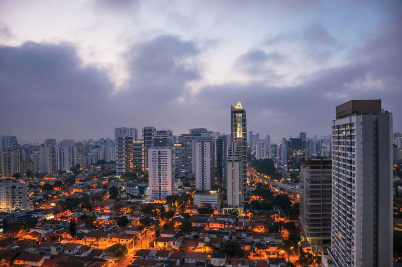 City skyline in the early morning light with houses and buildings in the city of sao paulo, brazil.