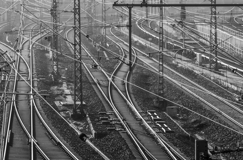 B&w Berlin Berlin Photography Berliner Ansichten Black And White Cable Complexity Confusion Connection Day Gleise High Angle View Intertwined No People Outdoors Prenzlauerberg Rail Transportation Railroad Track Schienen Transportation Travel Urban Urban Exploration Urban Landscape Welcome To Black