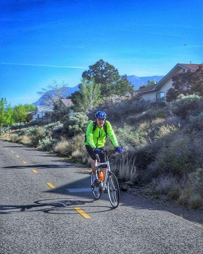 A cyclist on a